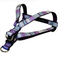 Sassy Dog Wear 15-21-Inch Purple/Multi Stripe Dog Harness, Small