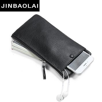 Thin Genuine Leather Wallet Purse Fashion Solid Cowhide Leather Card Holder Clutch Casual zipper purse Standard Wallet