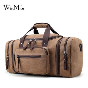 Winmax men's Canvas Travel Bags Carry on Luggage Bags Men Duffel Bag Travel Tote Large big Overnight high Capacity bag strong