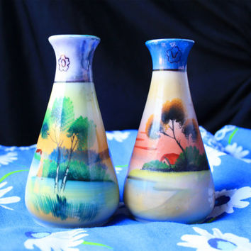 1950s 2 Vintage Japanese Lusterware Oil and Vinegar Condiments Set