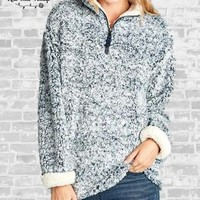 Faux Fur Sherpa Pullover - Navy