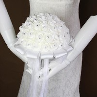 Bridal Wedding Flower Bouquet Decorative Stunning Artificial Rose Foam Flower with Crystal and Ribbon bouquet de mariage