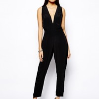 Motel Pia Jumpsuit With Plunge Neck - Black