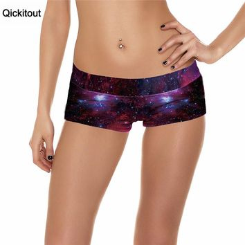 Qickitout Shorts 2016 Sexy New Fitness Shorts Women Sexy Galaxy Scales Cute Cat Leopard Digital Print Elasticity Shorts