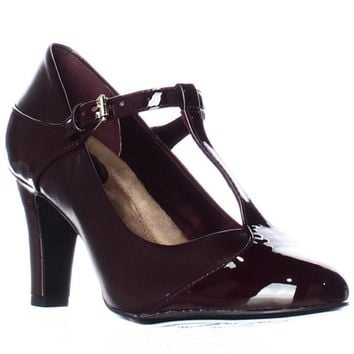 GB35 Vineza Mary Jane Memory Foam Pump Heels, Oxblood, 5.5 US