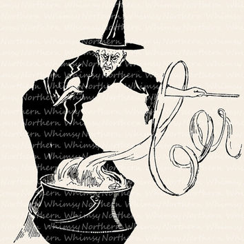 Witch and Cauldron – Vintage Halloween Clip Art Image – Digital Stamp - Printable Transfer Graphic – instant download clipart - CU OK