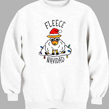 Fleece Navidad Sheep Funny Christmas Sweater for Mens Sweater and Womens Sweater *