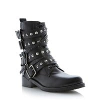 DUNE BLACK LADIES PAVLAR - Dune Black Multi Strap Studded Biker Boot - black | Dune Shoes Online