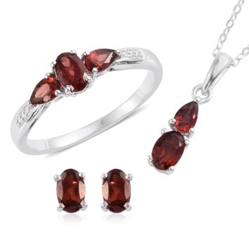 Matching Ruby Red Garnet Necklace and Earring