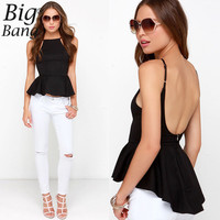 Aliexpress.com : Buy Sexy Backless Peplum Blouses Plus Size 2015 Summer Adjustable Spaghetti Strap Women Shirts European Street Blouse XXL M15050805 from Reliable shirt tattoo suppliers on Boutique, Big Bang