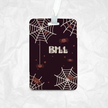 Halloween Spiders Luggage Tag with Spider Webs as Halloween Gift with Personalized Name Monogram Printing, Luggage Tag, Bag Tag, Name Tag