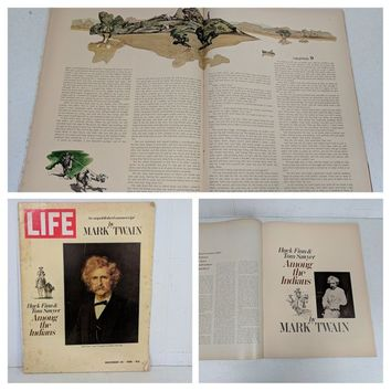 Mark Twain Collection of 8 Pieces of Memorabilia; Pencil Litho Samuel Clemens, 1968 LIFE Magazine, & Best of Mark Twain 4 Records + Book Set