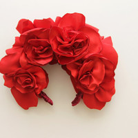 THE RED / Fabric flower kokoshnik / floral crown-OOAK - Ready to Ship
