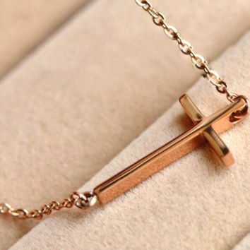 14k Yellow Gold Plated Sideways Cross Pendant Necklace