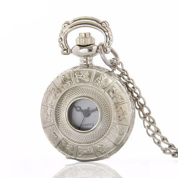 Silver Zodiac Pocket Watch