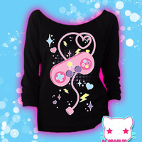 Player 1, Start! Retro Videogame Controller Graphic 3/4 Sleeve Sweatshirt Kawaii Fairy Kei Pastel Goth