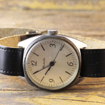 Vintage Raketa mens watch russian silver dial watch ussr ccp soviet watch
