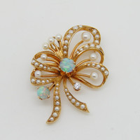 1940s Vintage 14K Yellow Gold Opal Diamond and Pearl Ribbon Bow Brooch Pendant