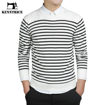 Striped Style Men Sweaters 100% Cashmere Knitted Basic Sweater Men Jumper Long Sleeve Male Pull