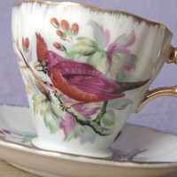 vintage red bird tea cup and saucer set, Japanese tea set, cardinal bird collectible