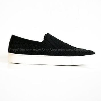 Suede Black Slip On Shoes