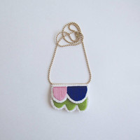Embroidered abstract necklace on matte gold tone ball chain. Summer 2017 colors in dark blue, lime green, and pink An Astrid Endeavor