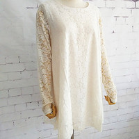 White Lace Dress Long Sleeve Dress large size dress casual loose dress cotton shirt plus size dress prom party dress S-4XL 001