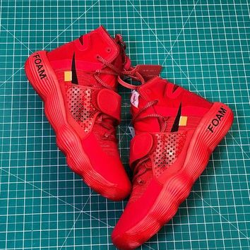 Off White X Nike React Hyperdunk Ow Red Sport Basketball Shoes DCCK