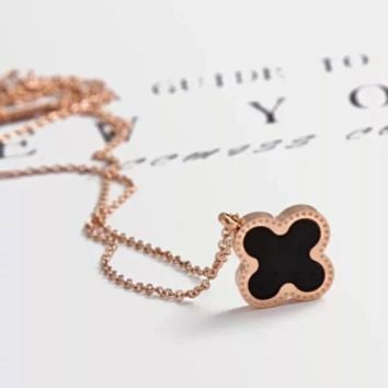 Van Cleef & Arpels Fashion women new four-leaf clover necklace Rose Gold