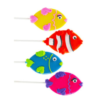 Assorted Tropical Fish Hard Candy Lollipops: 12-Piece Pack