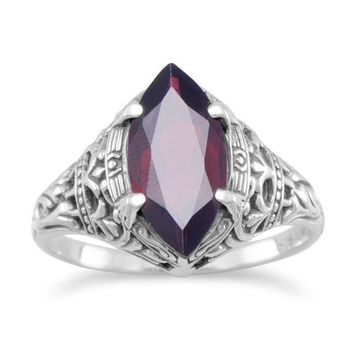 Sterling Silver Vintage Style Marquise Garnet Ring