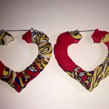 Heart Hoop Bamboo Earrings Versace Print Buy 1 Get 1 Free Shipping