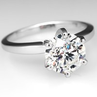 2 Carat Diamond Solitaire Engagement Ring 6-Prong Platinum
