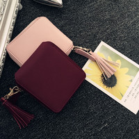 Women's PU Leather Small Wallet Card Holder Zip Coin Purse Clutch Handbag Purple Free Shipping