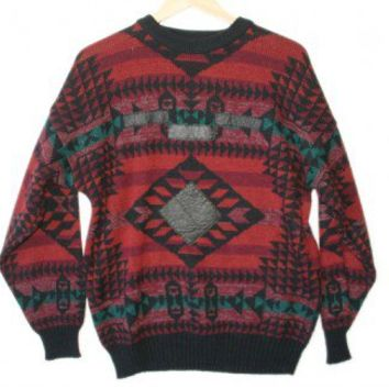 Shop Now! Ugly Sweaters: Vintage 80s Leather Patches Indian Blanket Tacky Ugly Sweater Men's Size Large (L) $22 - The Ugly Sweater Shop