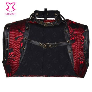 Red/Black Pirate Skull Vintage Coat Women Bolero Steampunk Jacket Gothic Corsets And Bustiers Sexy Corset Accessories Plus Size