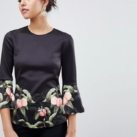 Ted Baker Bell Viccie Sleeve Top in Peach Blossom Print at asos.com