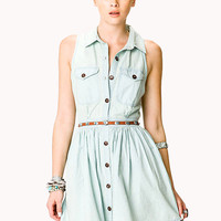 Stonewashed Denim Shirtdress w/ Belt