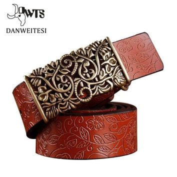 Women floral Embossed Cow Skin Belt With Woven Design Pin Buckle