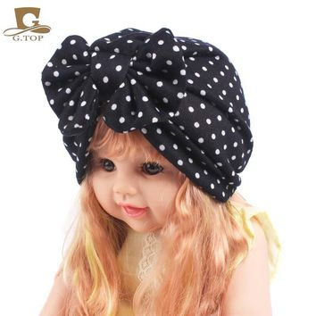 New Kids Vintage Bowtie Stretch Turban Baby Headband Beanie Girls Bandana Children Hair Accessories