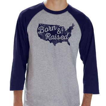 Born & Raised USA Mens Baseball Tee