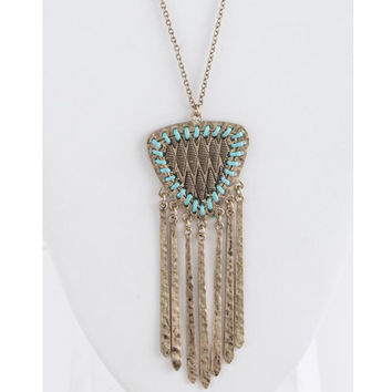 Metal Fringe Pendant Necklace