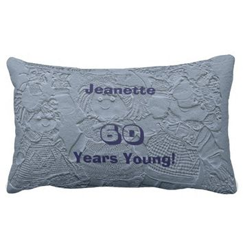 60th Birthday Light Silver Blue Dolls Pillow