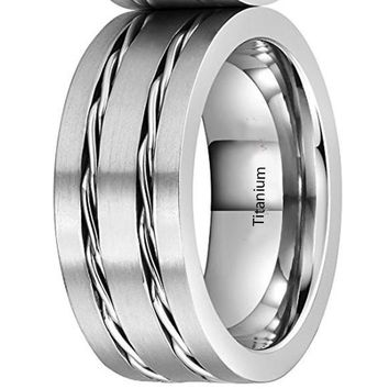 CERTIFIED 8mm Titanium Wedding Ring Brushed Two Twisted Steel Wires Chain Inlay