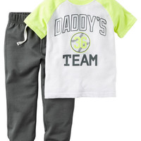 2-Piece Neon Sporty Tee & Terry Pant Set