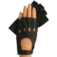 Black Half Fingers Driving Italian Leather Women's Gloves.  Unlined