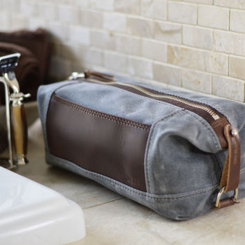 NO. 321 Personalized Expandable Dopp Kit, Gray Waxed Canvas and Leather