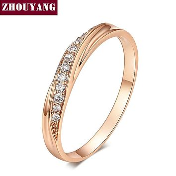 ZHOUYANG Wedding  Ring For Women Lovers Simple Cubic Zirconia Rose Gold Color