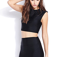 FOREVER 21 Shine On Sleeveless Crop Top