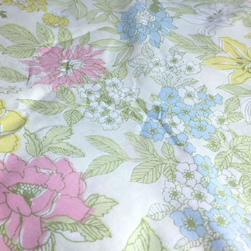 Vintage Flower Full Fitted Sheet Retro Pastel Yellow Green Pink Blue Floral Fabric Linens Bedding Bedroom Decor
